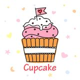 Cupcake vector doodle with a flag Stock Images