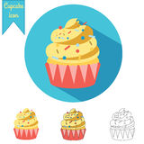 Cupcake vector icon set. Vector icons in different styles flat, hand drawn and outline Stock Photo
