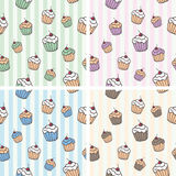 Cupcake vector naadloze tileable achtergrond Stock Foto