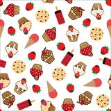 Cupcake vector pattern white background Royalty Free Stock Photo