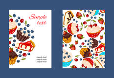 Cupcake vector promo card set royalty free stock photography