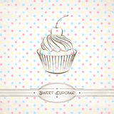 Cupcake. Vector retro illustration of the cupcake against polka dot background stock illustration