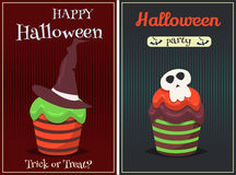 Cupcake vector set. Happy Halloween Scary Sweets poster. Royalty Free Stock Images