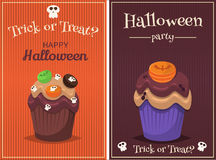 Cupcake vector set. Happy Halloween Scary Sweets poster. Stock Photo
