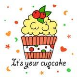 Cupcake vectorkrabbel met bessen Royalty-vrije Stock Afbeeldingen