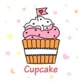 Cupcake vectorkrabbel met een vlag Stock Afbeeldingen