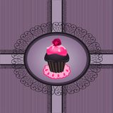 Cupcake vintage 1. Illustration of cupcake vintage with lace frame Stock Images