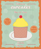 Cupcake vintage retro poster Stock Photography