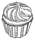 Cupcake Vintage Retro Woodcut Style Royalty Free Stock Images