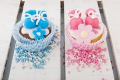 Cupcake voor een een babymeisje en jongen Royalty-vrije Stock Fotografie