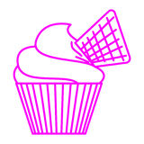 Cupcake with waffle. Simple thin line cupcake with waffle icon vector Stock Images