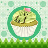 A cupcake and a wallpaper Stock Photos