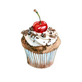 Cupcake. Watercolor cupcake with cherries and chocolate Royalty Free Stock Photography