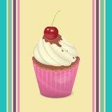 Cupcake. With whipped cream and a cherry - Illustration stock illustration
