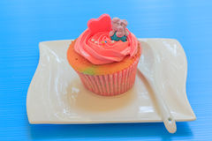 Cupcake with whipped cream Royalty Free Stock Photo