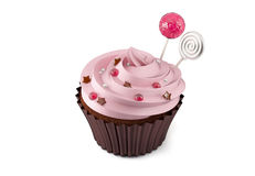 Cupcake on white background. Cupcake with candy on white background Stock Images
