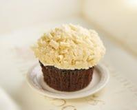 Cupcake with white chocolate close up Royalty Free Stock Photos