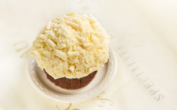 Cupcake with white chocolate closeup Royalty Free Stock Photos