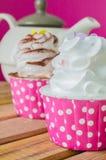 Cupcake. White cream&White chocolate cupcake Stock Image