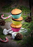 Cupcake in white decorative sledge Stock Photography