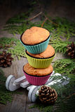Cupcake in white decorative sledge Royalty Free Stock Photo