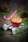 Cupcake in white decorative sledge Stock Image