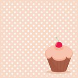 Vector cupcake on white polka dots pink background. Cherry vector cupcake on white polka dots pink background Stock Photography