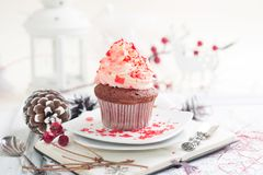 Cupcake with white and red cream Stock Photo