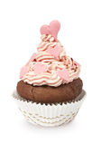 Cupcake With Pink Hearts Royalty Free Stock Photos