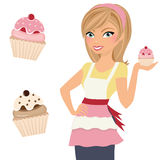 Cupcake woman. With cherry cupcake in hand and two separate cupcake clip arts vector illustration