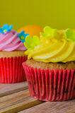 Cupcake. On the wood table Royalty Free Stock Photography