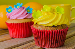 Cupcake. On the wood table Stock Photo
