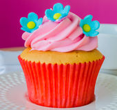Cupcake. On the wood table Stock Image