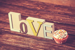 Cupcake and word Love Royalty Free Stock Image