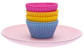 Cupcake Wrappers on a Plate Royalty Free Stock Image
