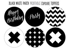 Cupcake wrappers Printable for Black and white Party. Stock Photos
