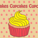 Cupcake and yogurt icon in doodle style Royalty Free Stock Photography