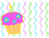 Cupcake with Zigzag Background. Here is a colorful Cupcake with flowers and candle Stock Images