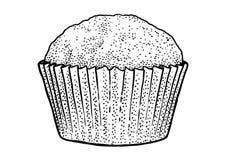 Cupcakeillustratie, tekening, gravure, inkt, lijnkunst, vector Royalty-vrije Stock Foto