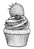 Cupcakeillustratie, tekening, gravure, inkt, lijnkunst, vector Stock Fotografie