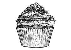 Cupcakeillustratie, tekening, gravure, inkt, lijnkunst, vector Stock Afbeelding