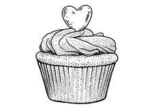 Cupcakeillustratie, tekening, gravure, inkt, lijnkunst, vector Stock Foto