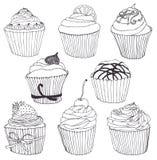 Cupcakereeks Stock Afbeelding
