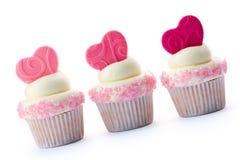 cupcakes βαλεντίνος Στοκ Εικόνες