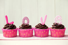 cupcakes βαλεντίνος Στοκ Εικόνα