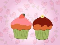 cupcakes βαλεντίνος απεικόνιση αποθεμάτων