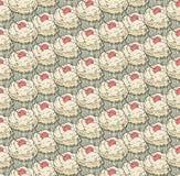 Cupcakes γλυκών άνευ ραφής χέρι σχεδίων doodle διανυσματικό που σύρεται Εκλεκτής ποιότητας υπόβαθρο αρτοποιείων Στοκ Εικόνες
