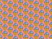 Cupcakes γλυκών άνευ ραφής χέρι σχεδίων doodle διανυσματικό που σύρεται Εκλεκτής ποιότητας υπόβαθρο αρτοποιείων Στοκ Φωτογραφία