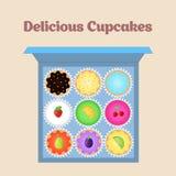 cupcakes θέστε Επίπεδο εικονίδιο τοπ άποψης Στοκ Εικόνες