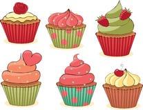 cupcakes θέστε περιγραμματικός Στοκ Εικόνες